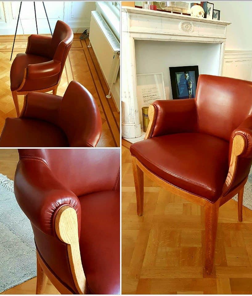 stoelen met leder van vintageco.be